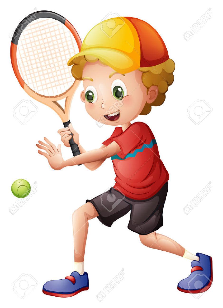 28202899-Illustrazione-di-un-ragazzo-carino-giocare-a-tennis-su-uno-sfondo-bianco-Archivio-Fotografico