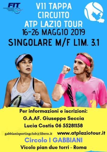 7a Tappa circuito ATP LAZIO TOUR dal 16 al 26 maggio -ASD I GABBIANI-